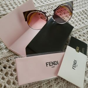 NWT FENDI FF0215 GRADIENT CUTOUT CAT EYE SUNGLASSE